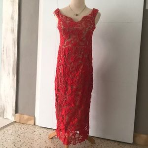 Red Lace Dress by Misguided